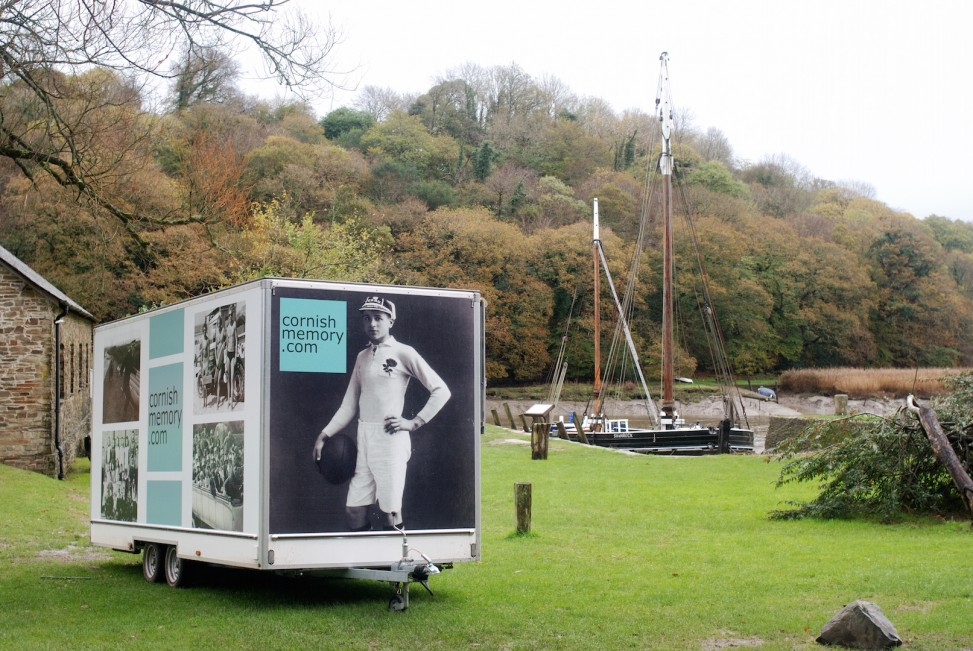 The cornishmemory.com mobile digitisation trailer at Cothele in front of the Shamrock.